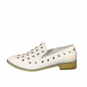 JG Vegan Leather Metal Studded Pointy Toe Loafers